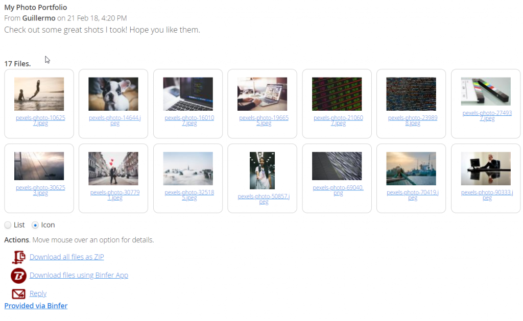 File sharing for professional photographers binfer web pickup